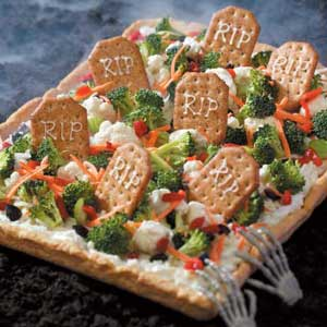 Halloween Pizza Recipes Graveyard Veggie Pizza